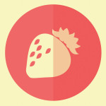 Strawberry hipster icon